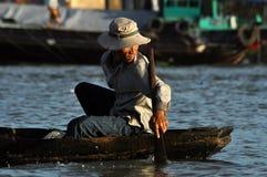 Vietnamese fiherman in the Mekong delta, Vietnam Stock Photography