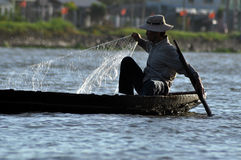 Vietnamese fiherman in the Mekong delta, Vietnam Stock Images