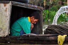 Vietnamese fiherman in the Mekong delta, Vietnam Royalty Free Stock Photos