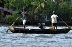 Vietnamese fiherman in the Mekong delta, Vietnam Royalty Free Stock Image