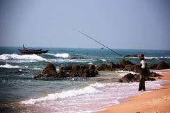 Vietnamese fisherman Royalty Free Stock Photo