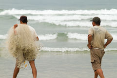 Vietnamese Fishermen head out into the sea to go fishing Stock Image