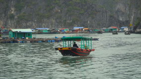 Vietnamese fishing boat sails on the sea. Asian region. South China Sea. Vietnam travel landscape and destinations stock footage