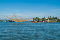 Vietnamese fishing boats on the Vin Cura Dai river near Hoi An Stock Photo