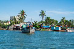 Vietnamese fishing boats on the Vin Cura Dai river near Hoi An Royalty Free Stock Image