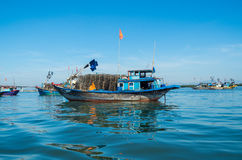 Vietnamese fishing boats on the Vin Cura Dai river near Hoi An Royalty Free Stock Photo