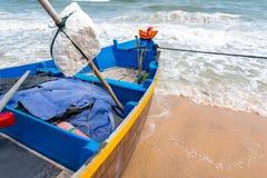 Vietnamese fishing coracles on beach, tribal boats at fishing vi Stock Photography