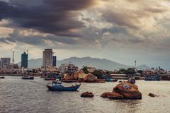 Vietnamese fishing vessels in Nha Trang royalty free stock photography