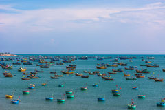 Vietnamese fishing village with  traditional colorful fishing bo Stock Photography
