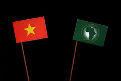Vietnamese flag with African Union flag  on black Stock Photo