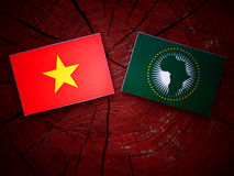 Vietnamese flag with African Union flag on a tree stump  Royalty Free Stock Photography
