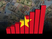 Vietnamese flag bar chart over Euros and Dollars illustration Royalty Free Stock Image