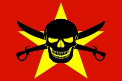 Pirate flag combined with Vietnamese flag. Vietnamese flag combined with the black pirate image of Jolly Roger with cutlasses Royalty Free Stock Photography