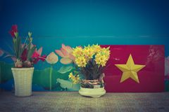 Vietnamese flag and flowers. On a stage in a public school Royalty Free Stock Photography