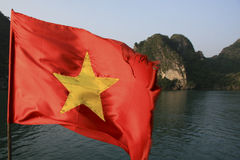 Vietnamese flag in Halong Bay Royalty Free Stock Photography