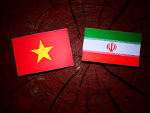Vietnamese flag with Iranian flag on a tree stump isolated Royalty Free Stock Image