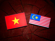 Vietnamese flag with Malaysian flag on a tree stump isolated Royalty Free Stock Photos
