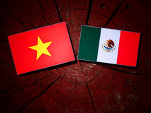 Vietnamese flag with Mexican flag on a tree stump isolated Royalty Free Stock Image