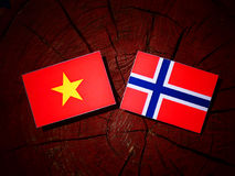 Vietnamese flag with Norwegian flag on a tree stump isolated Royalty Free Stock Image