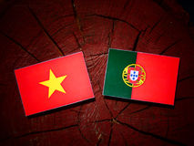 Vietnamese flag with Portuguese flag on a tree stump isolated Stock Images