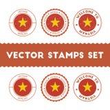 Vietnamese flag rubber stamps set. Royalty Free Stock Photos