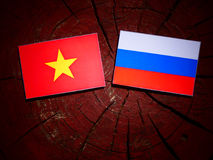 Vietnamese flag with Russian flag on a tree stump  Royalty Free Stock Photo