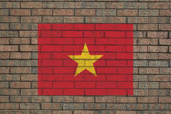 Vietnamese flag on wall Royalty Free Stock Photo