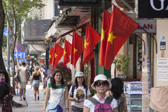 Vietnamese flags. On display near Pham Ngu Lao street in District 1 in Ho Chi Minh city Stock Images