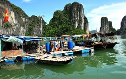 Vietnamese Floating Fishing Village. A photo of a part of a floating fishing village in Halong Bay, Vietnam Royalty Free Stock Photo