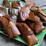 Vietnamese food, banh nam, banh bot loc. Vietnamese food, a special street food from Hue cuisine, make from rice flour with meat, shrimp, pack with banana leaf Stock Image