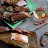 Vietnamese food, banh nam, banh bot loc. Vietnamese food, a special street food from Hue cuisine, make from rice flour with meat, shrimp, pack with banana leaf Stock Images