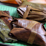 Vietnamese food, banh nam, banh bot loc. Vietnamese food, a special street food from Hue cuisine, make from rice flour with meat, shrimp, pack with banana leaf Royalty Free Stock Image