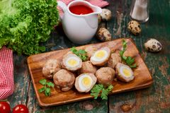 Vietnamese food. Delicious homemade fish balls on wooden table. royalty free stock image