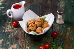 Vietnamese food. Delicious homemade fish balls on wooden table. royalty free stock photos