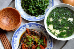 Vietnamese food, family meal, Dinner time Royalty Free Stock Images