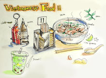 Vietnamese food illustration Stock Photography