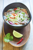 Vietnamese food, rice noodle soup with sliced beef Royalty Free Stock Images