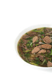 Vietnamese food rice noodle soup with sliced sauteed beef and royalty free stock images