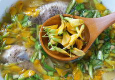 Vietnamese food, sour fish vegetable soup Royalty Free Stock Photo