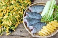 Vietnamese food, sour fish vegetable soup Stock Photos