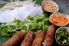 Vietnamese food, spring roll, bun,cha gio Royalty Free Stock Image