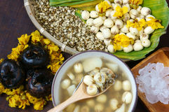 Vietnamese food, sweet lotus seed gruel. Ingredients: lotus bean, mung bean, water chestnut and sugar candy. this Vietnam dish for dessert or snack, very Stock Image