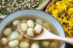 Vietnamese food, sweet lotus seed gruel. Ingredients: lotus bean, mung bean, water chestnut and sugar candy. this Vietnam dish for dessert or snack, very Royalty Free Stock Photography