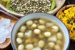 Vietnamese food, sweet lotus seed gruel. Ingredients: lotus bean, mung bean, water chestnut and sugar candy. this Vietnam dish for dessert or snack, very Royalty Free Stock Photo