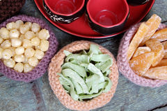 Vietnamese food, Tet, jam, Vietnam lunar new year. Vietnamese food for Tet holiday in spring, jam is traditional food on lunar new year, can make from sweet stock images
