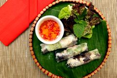Vietnamese fresh spring rolls stock photo