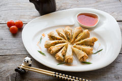 Vietnamese fried springroll. Served with chili sauce Royalty Free Stock Images