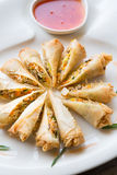 Vietnamese fried springroll. Served with chili sauce Royalty Free Stock Photos