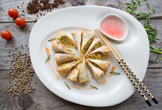 Vietnamese fried springroll. Served with chili sauce Royalty Free Stock Image