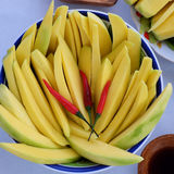 Vietnamese fruit, green mango. Cut in slice, a popular tropical fruit, rich vitamin A, vitamin C, collagen, good for health and impulse calcium absorption stock photos